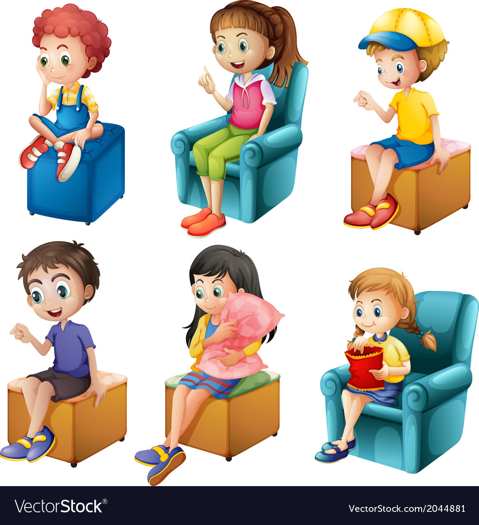 Kids sitting vector | Price: 1 Credit (USD $1)