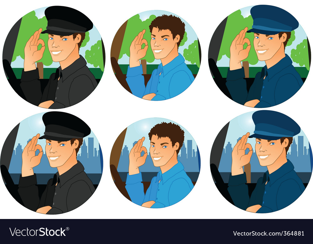Man driver cartoon icon set vector | Price: 1 Credit (USD $1)