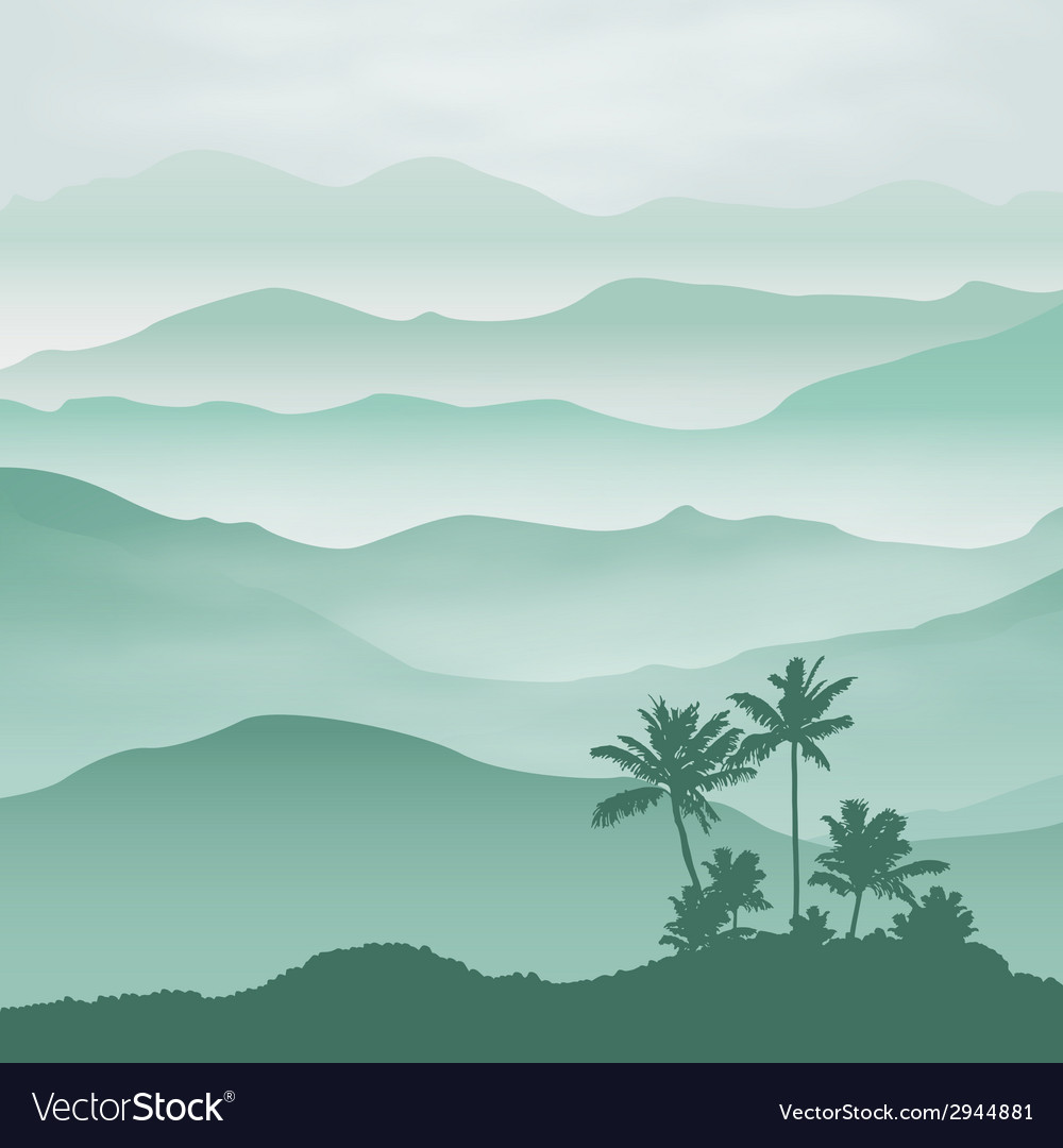 Mountains with palm tree in the fog vector | Price: 1 Credit (USD $1)