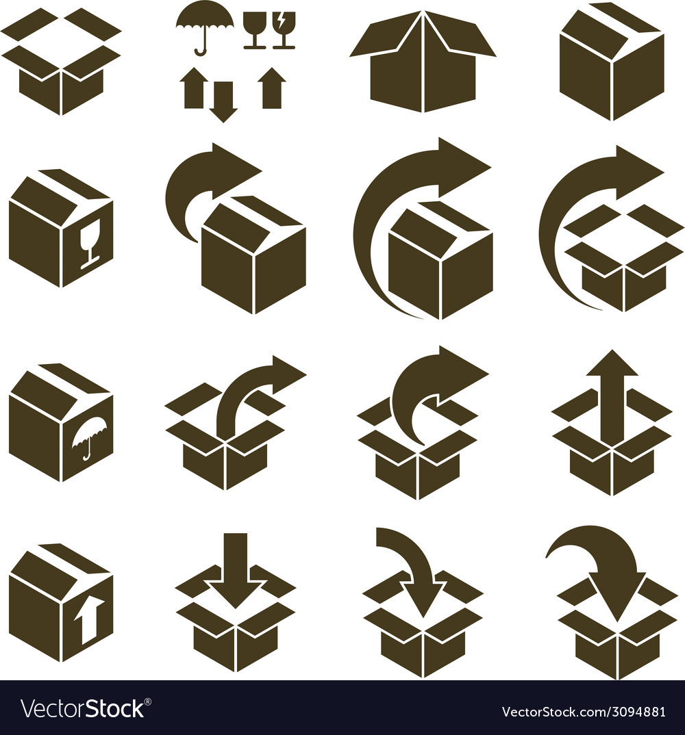 Packaging boxes icons isolated on white background vector | Price: 1 Credit (USD $1)