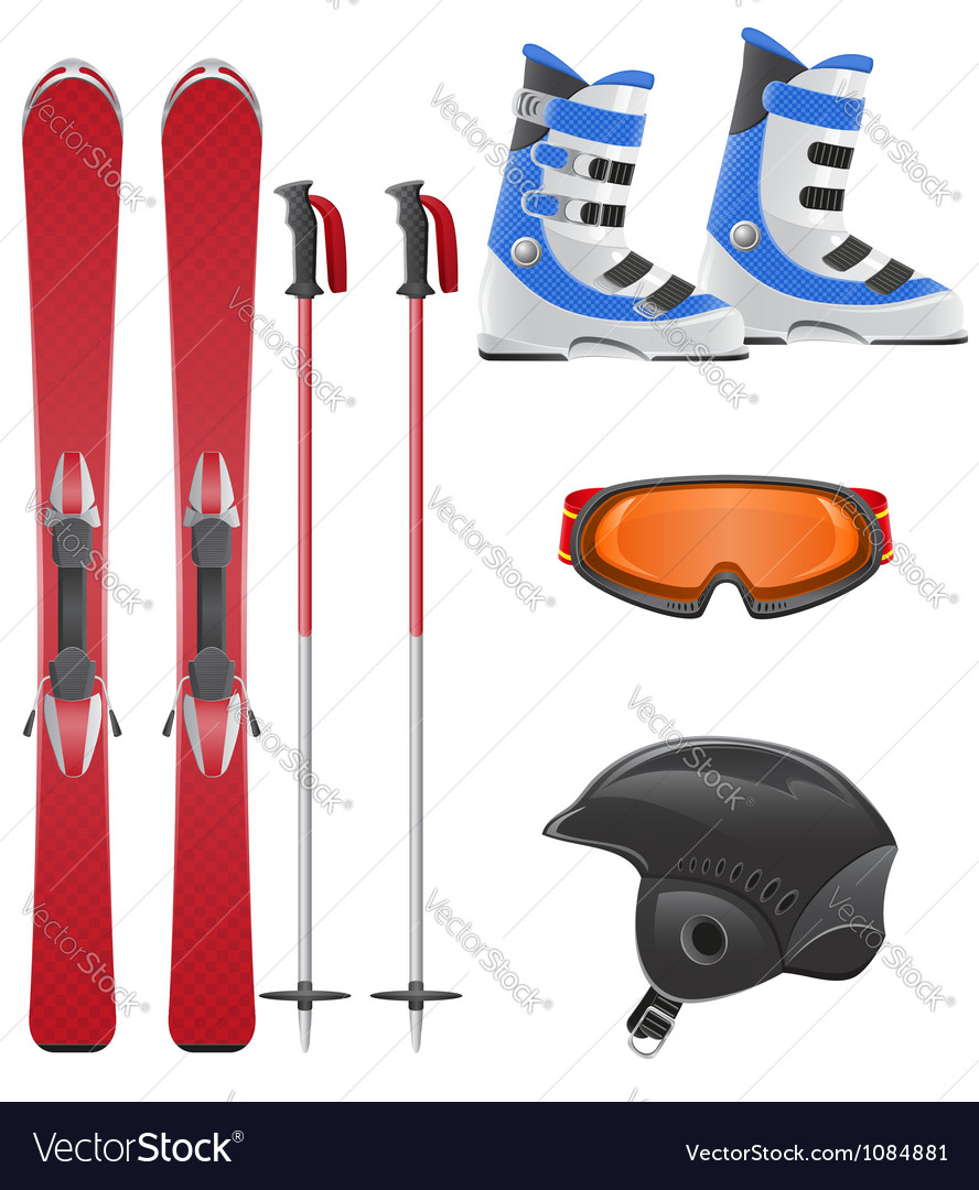 Ski equipment icon set vector | Price: 3 Credit (USD $3)