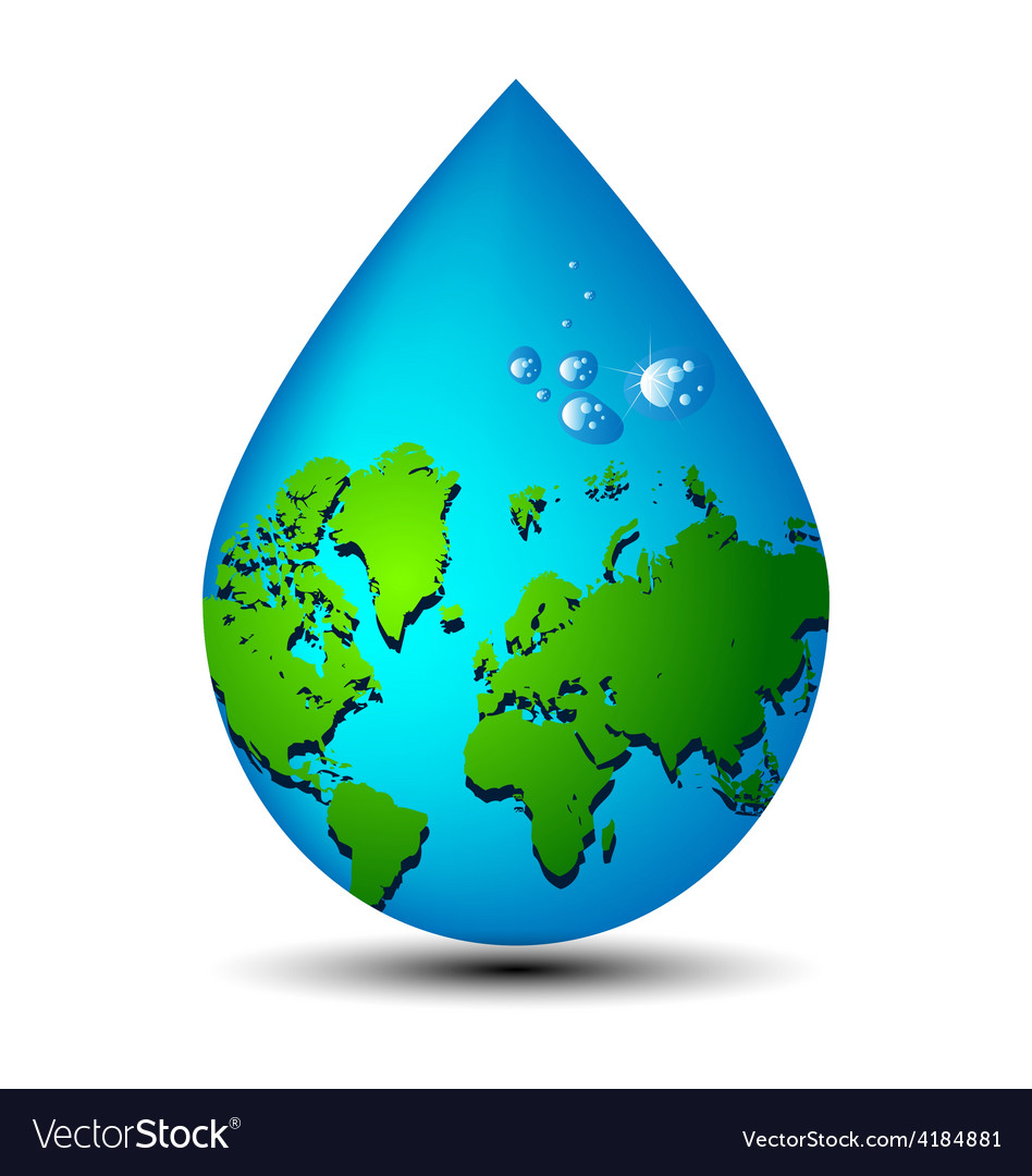 Water drop earth ecology concept vector | Price: 1 Credit (USD $1)