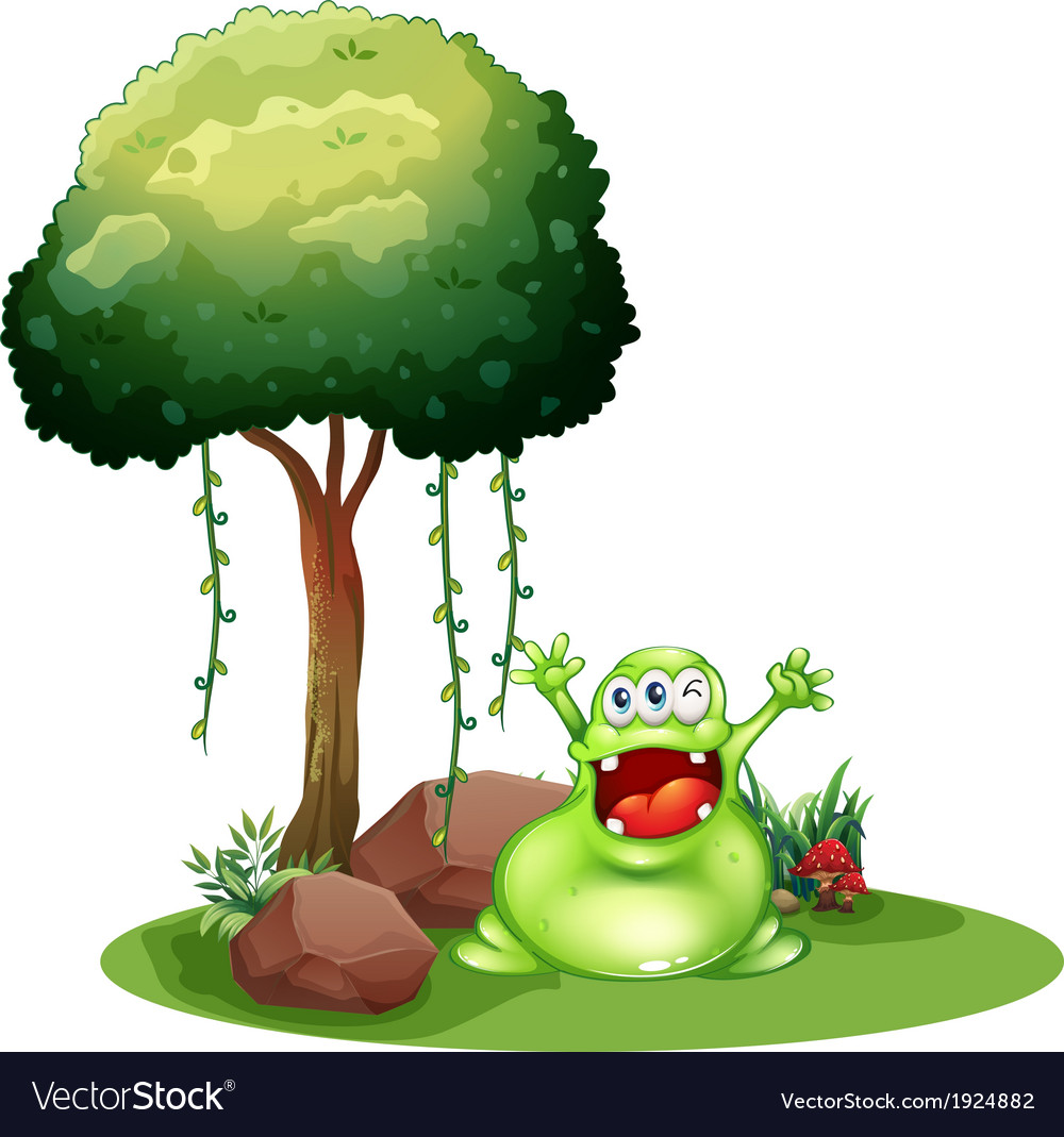 A happy monster near the tree vector | Price: 3 Credit (USD $3)