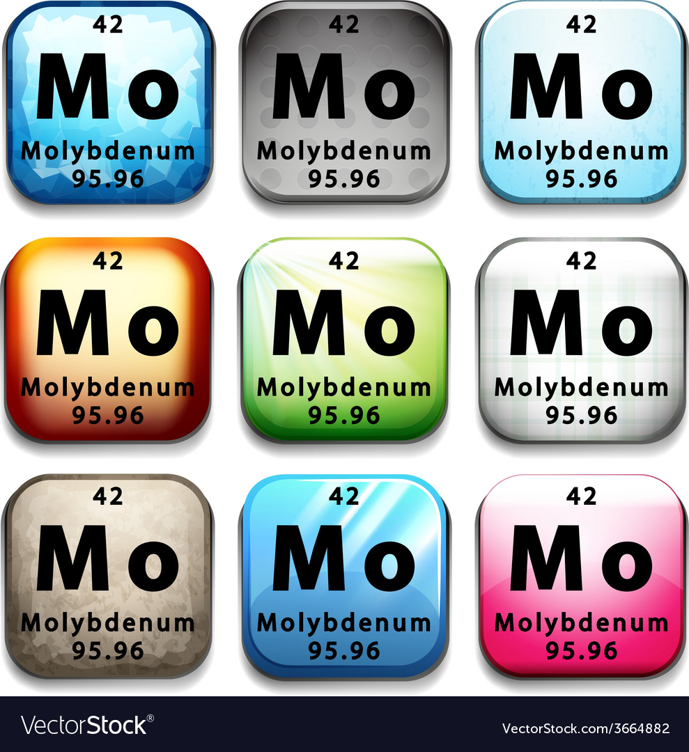 A periodic table showing molybdenum vector   Price: 1 Credit (USD $1)