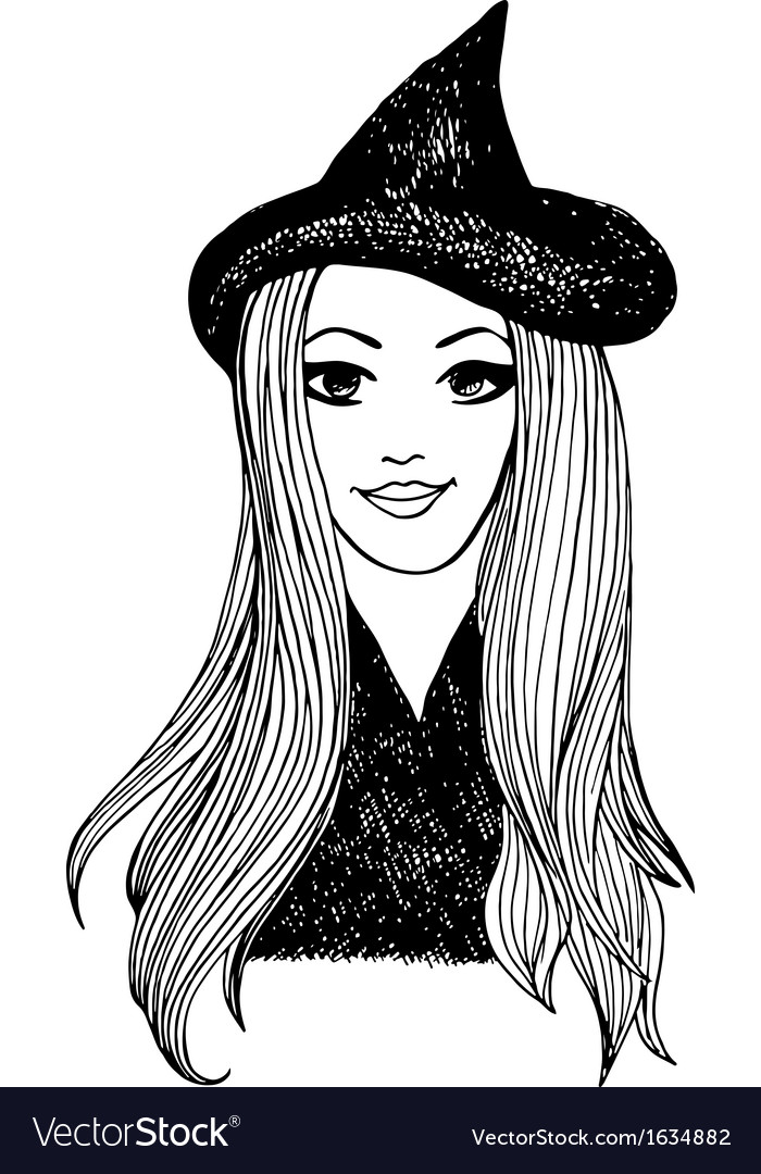 Attractive smiling witch halloween sketch vector | Price: 1 Credit (USD $1)