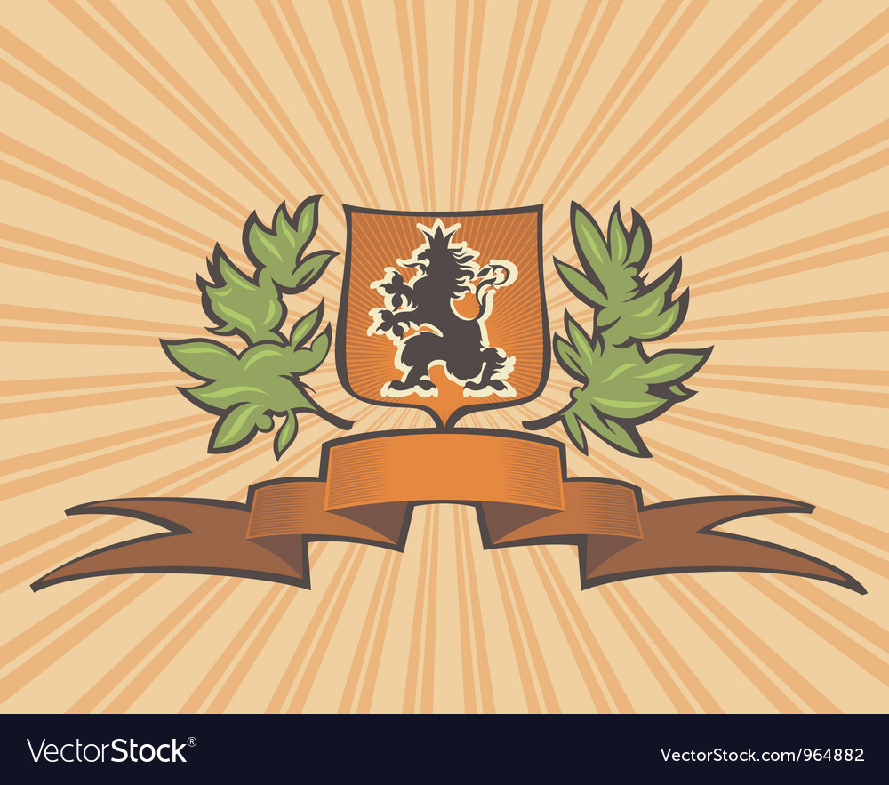 Brown shield with lion vector | Price: 1 Credit (USD $1)