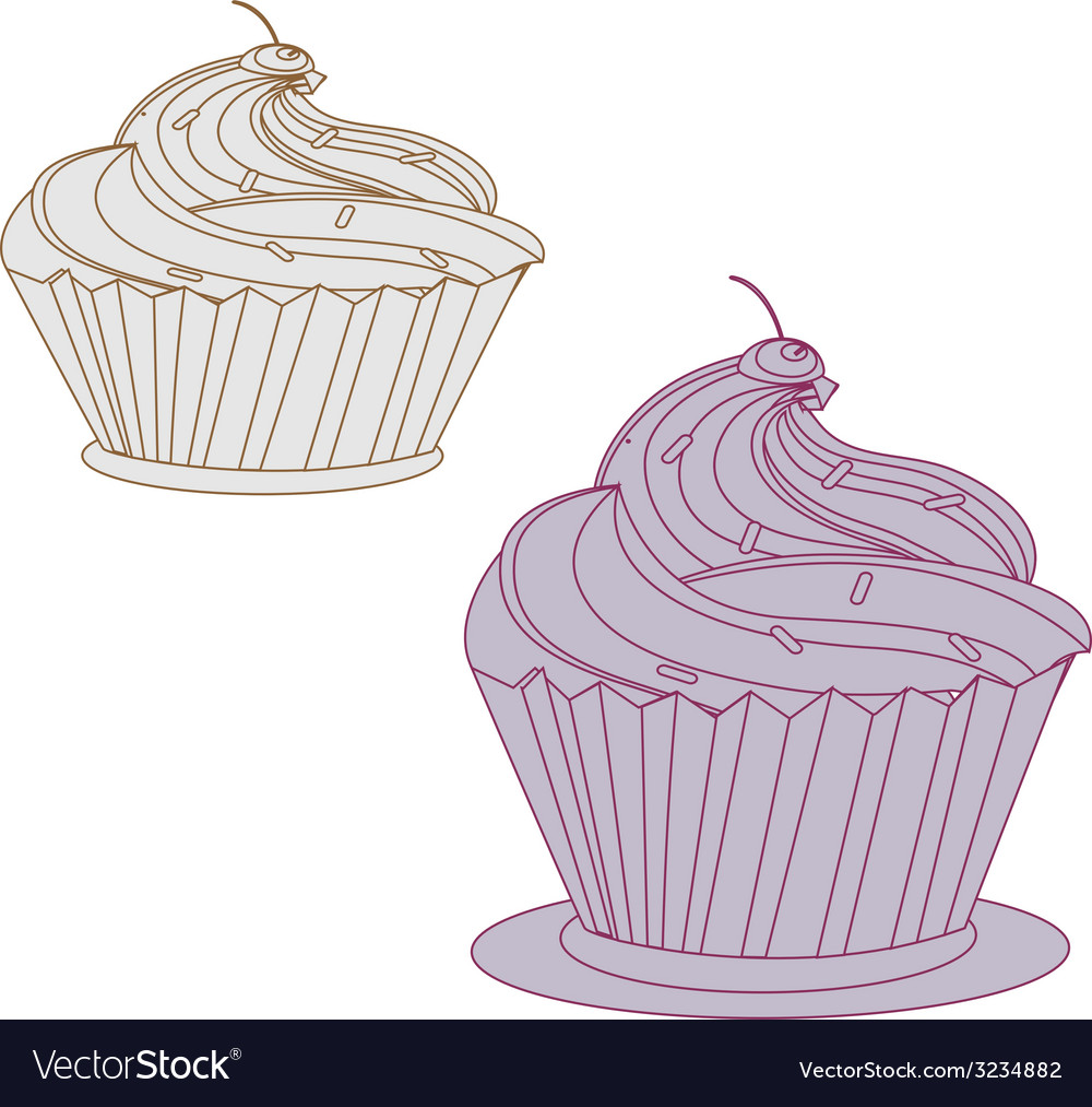 Cream cake with pink cherry vector | Price: 1 Credit (USD $1)