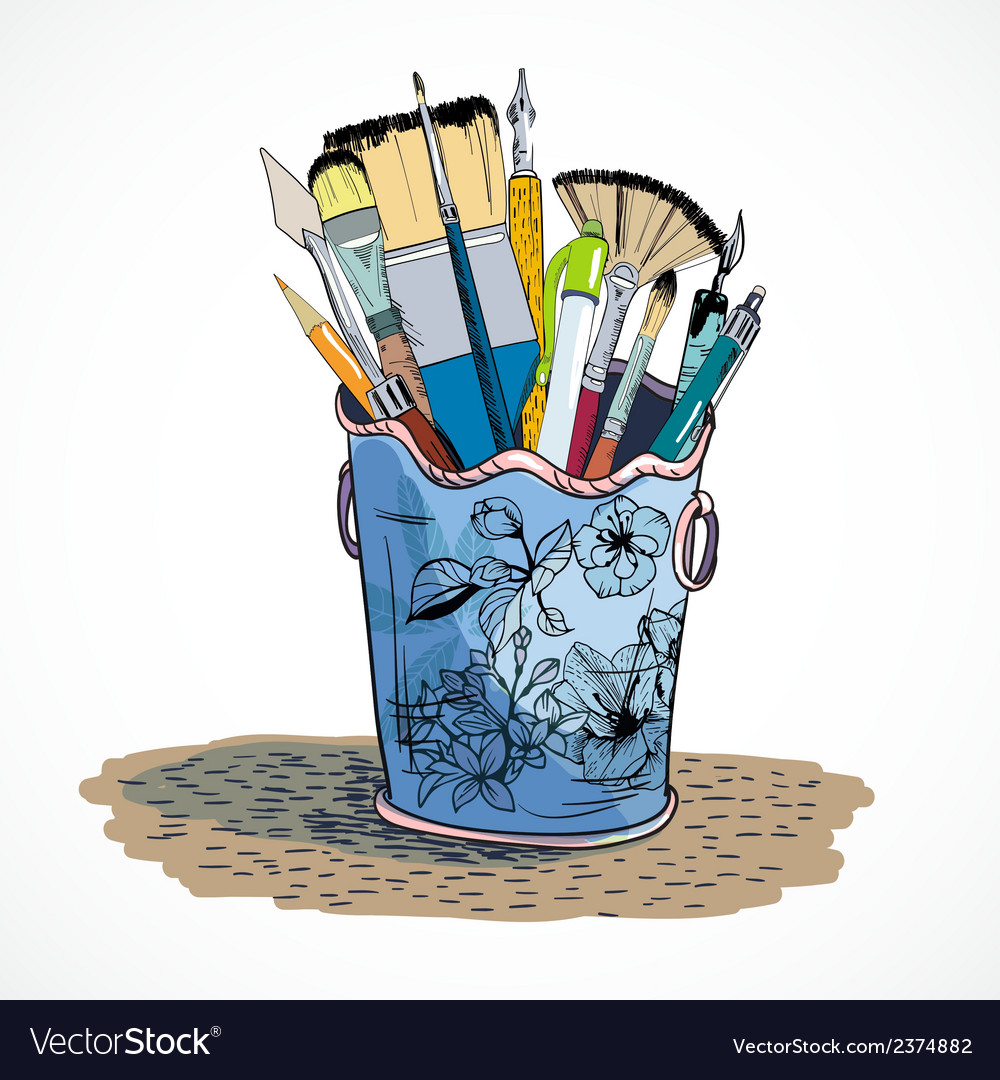 Drawing tools holder sketch vector | Price: 1 Credit (USD $1)