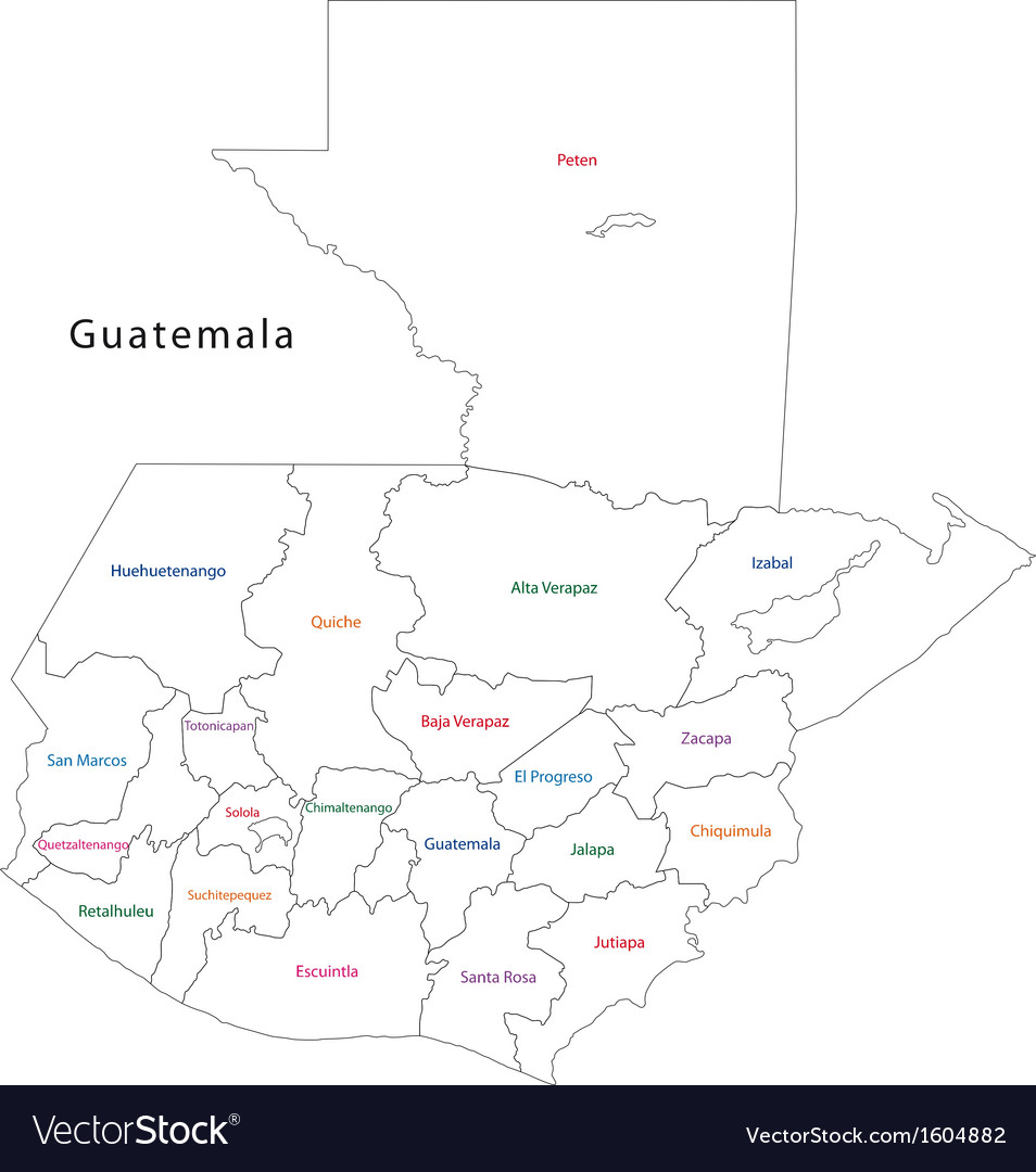 Outline guatemala map vector | Price: 1 Credit (USD $1)