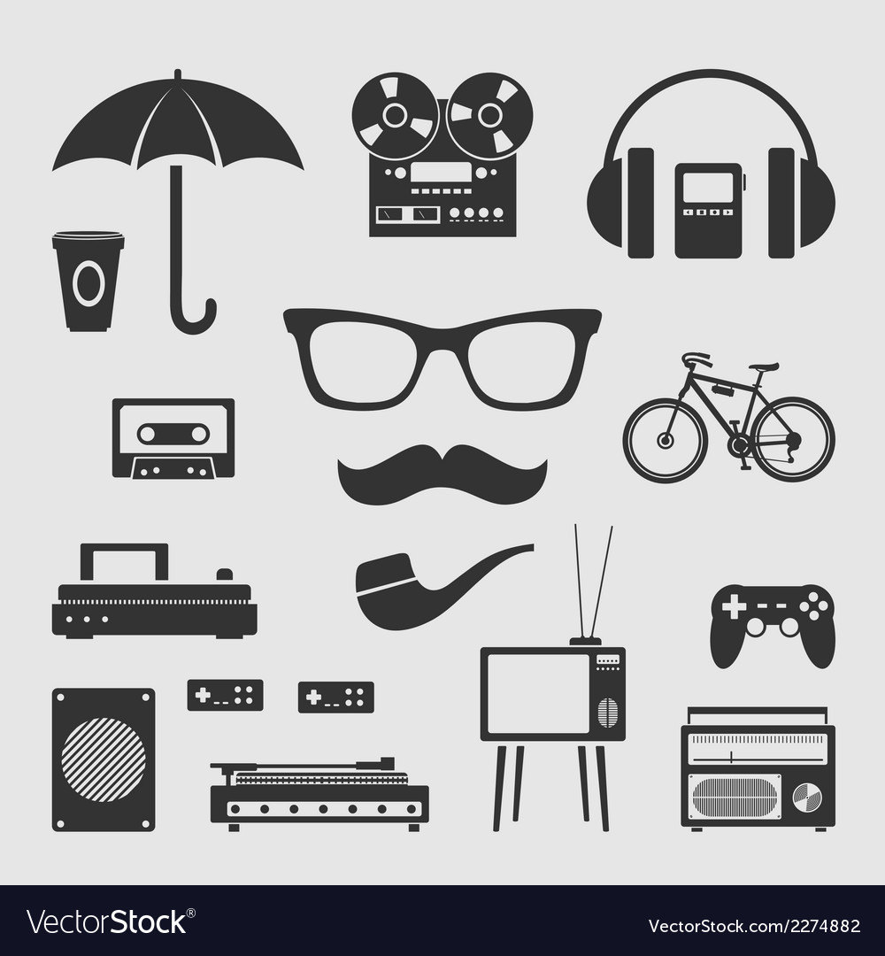 Set for hipster vector | Price: 1 Credit (USD $1)