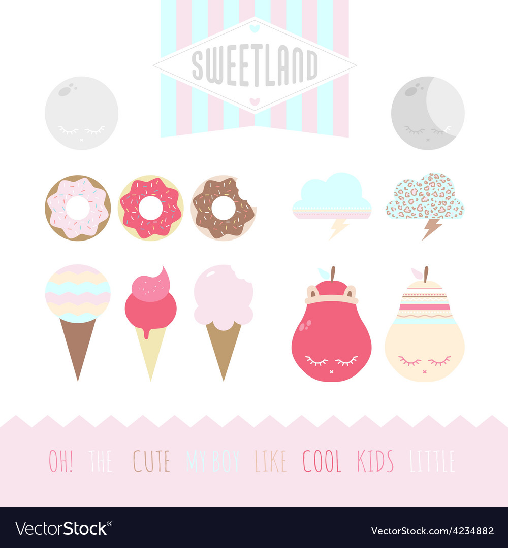Set of cute elements vector | Price: 1 Credit (USD $1)