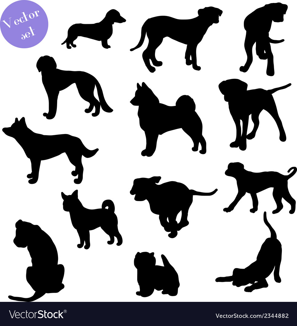 Set of dogs silhouette vector | Price: 1 Credit (USD $1)