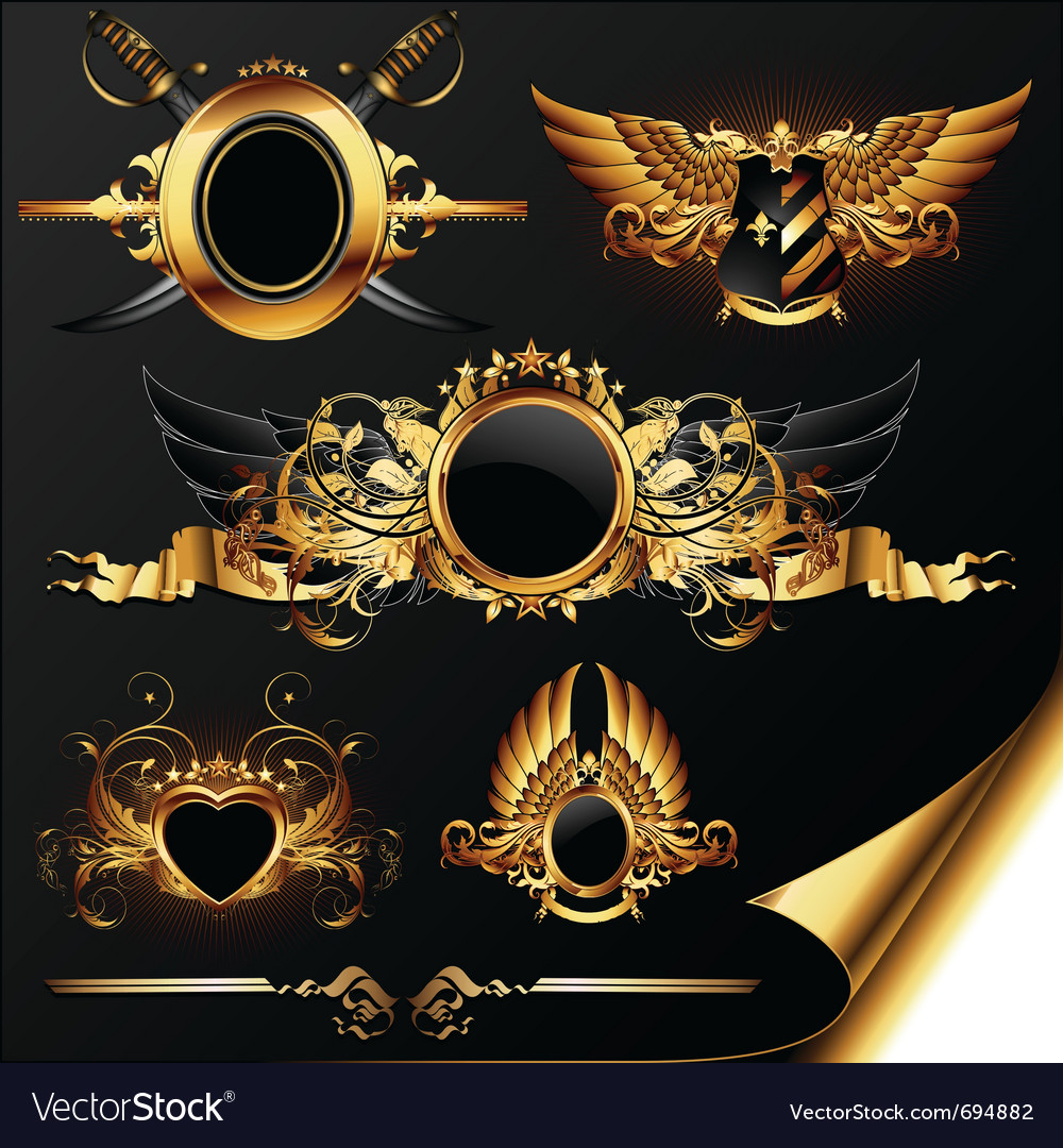 Set of ornamental heraldic elements vector | Price: 3 Credit (USD $3)