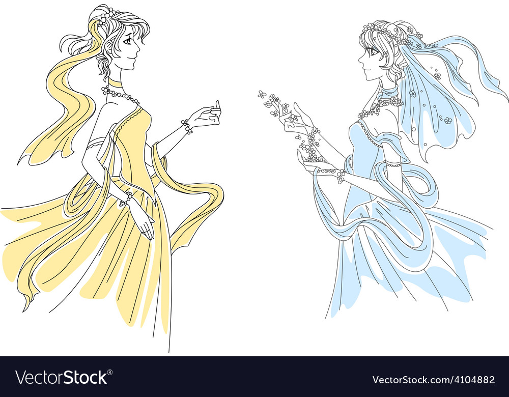 Two delicate vintage ladies in swirling attire vector | Price: 1 Credit (USD $1)