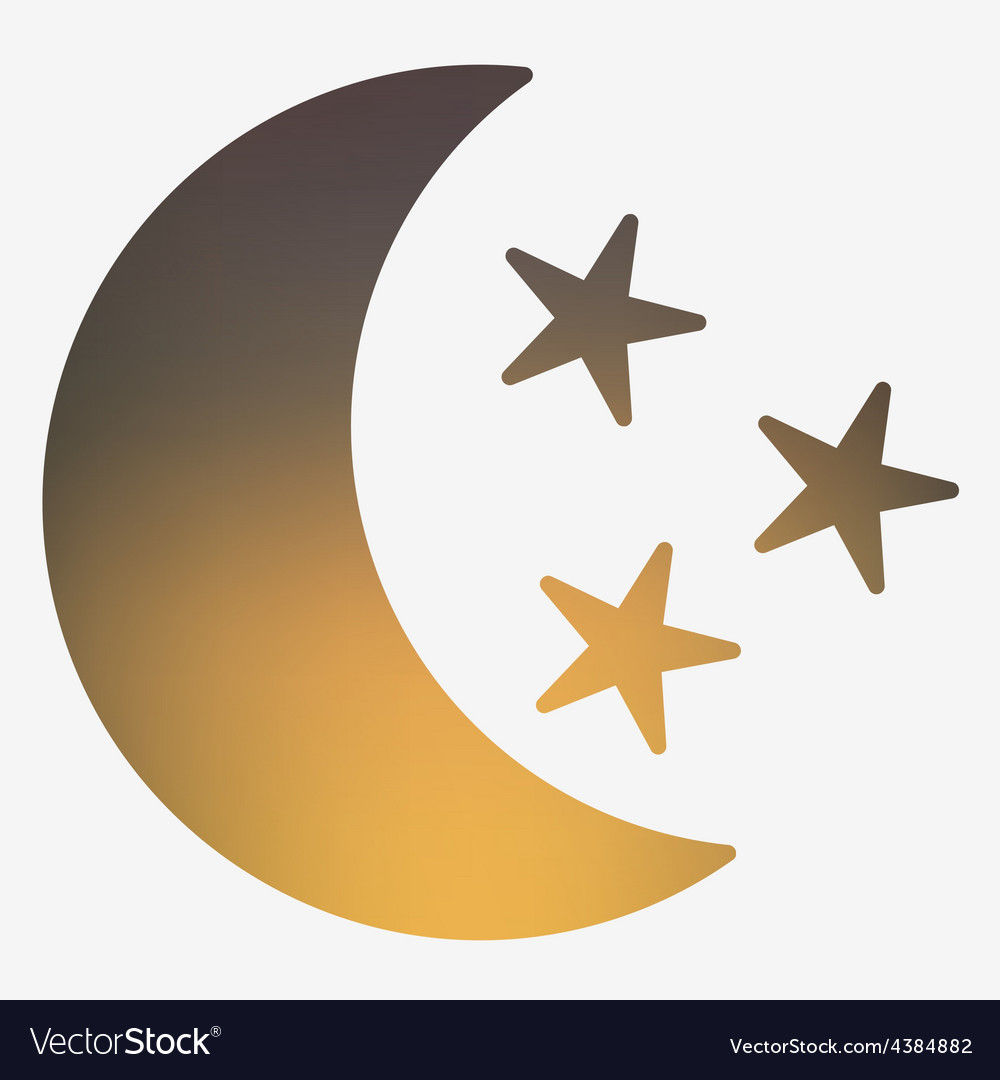 Weather flat style icon with moon and stars vector | Price: 1 Credit (USD $1)