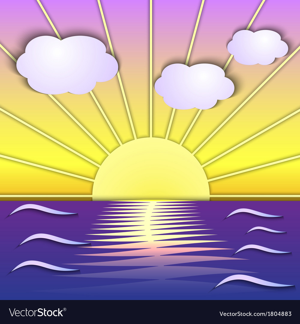 Abstract sea sunrise scene vector | Price: 1 Credit (USD $1)