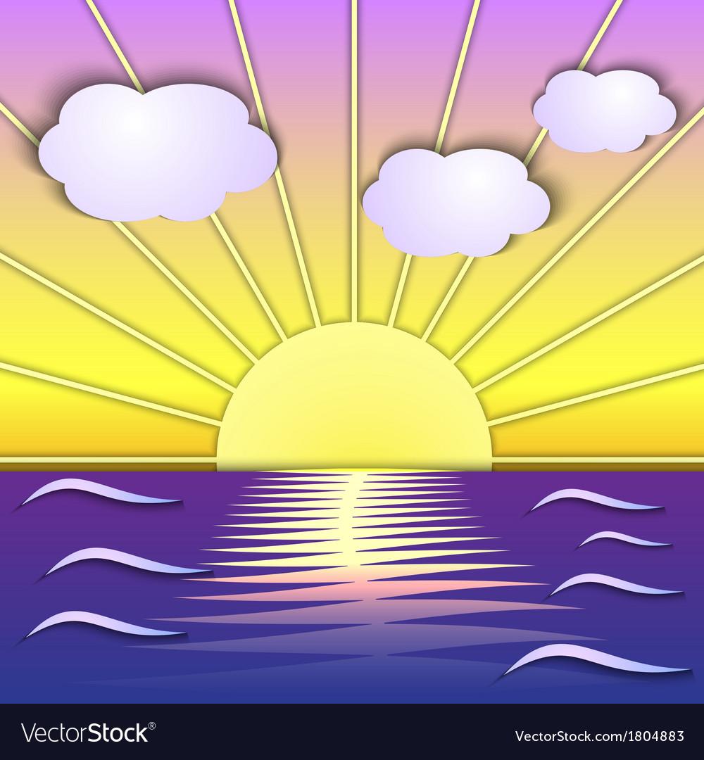 Abstract sea sunrise scene vector | Price: 1 Credit (USD $1)