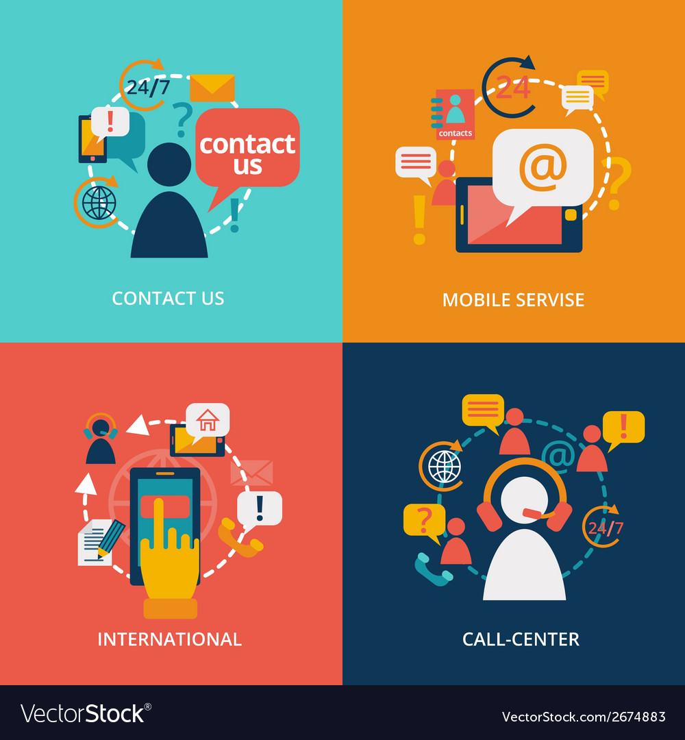 Contact us flat vector   Price: 1 Credit (USD $1)