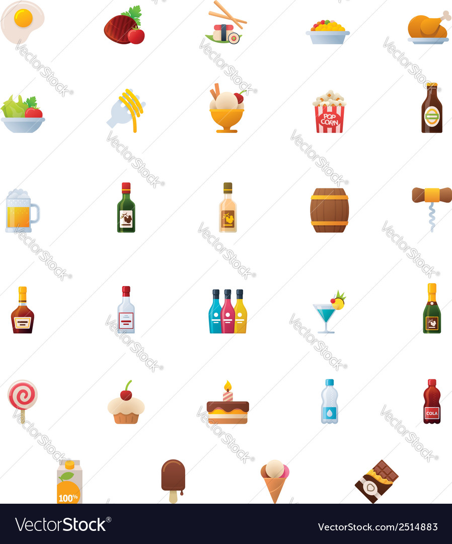 Food and drinks icon set vector | Price: 1 Credit (USD $1)