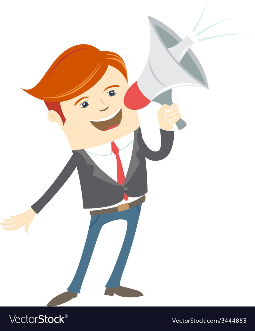 Office man megaphone shouting vector | Price: 1 Credit (USD $1)