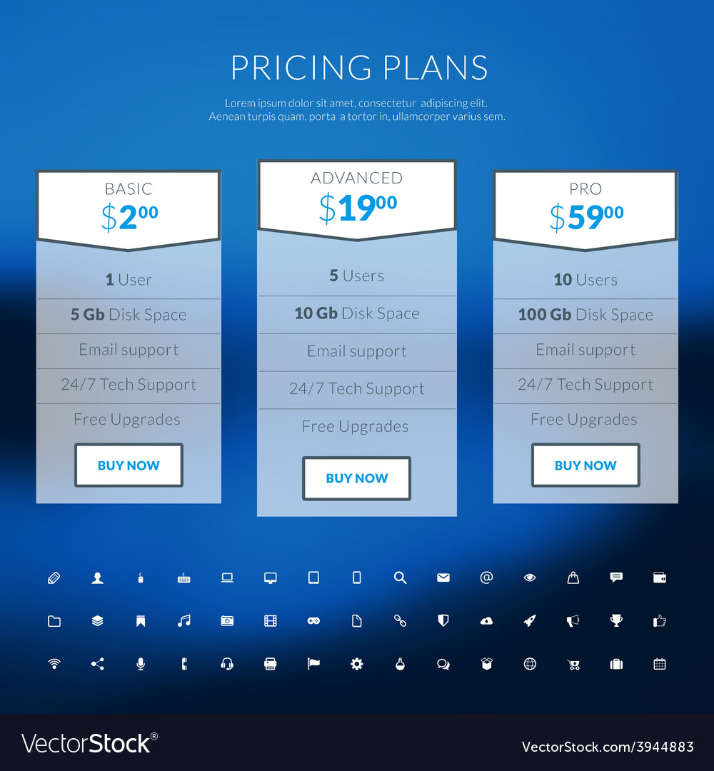 Pricing table in flat design style for websites vector | Price: 1 Credit (USD $1)