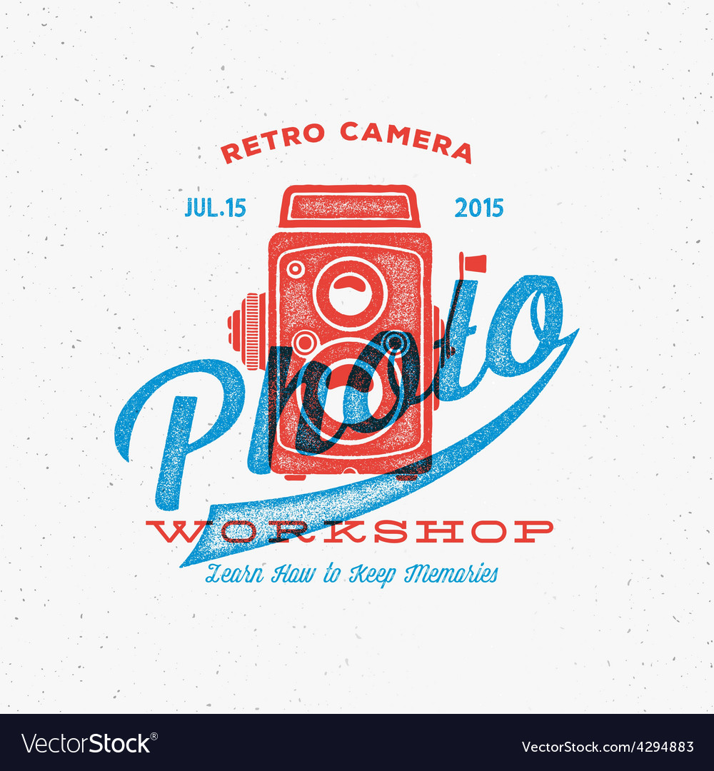 Retro camera photo workshop label or logo template vector | Price: 1 Credit (USD $1)