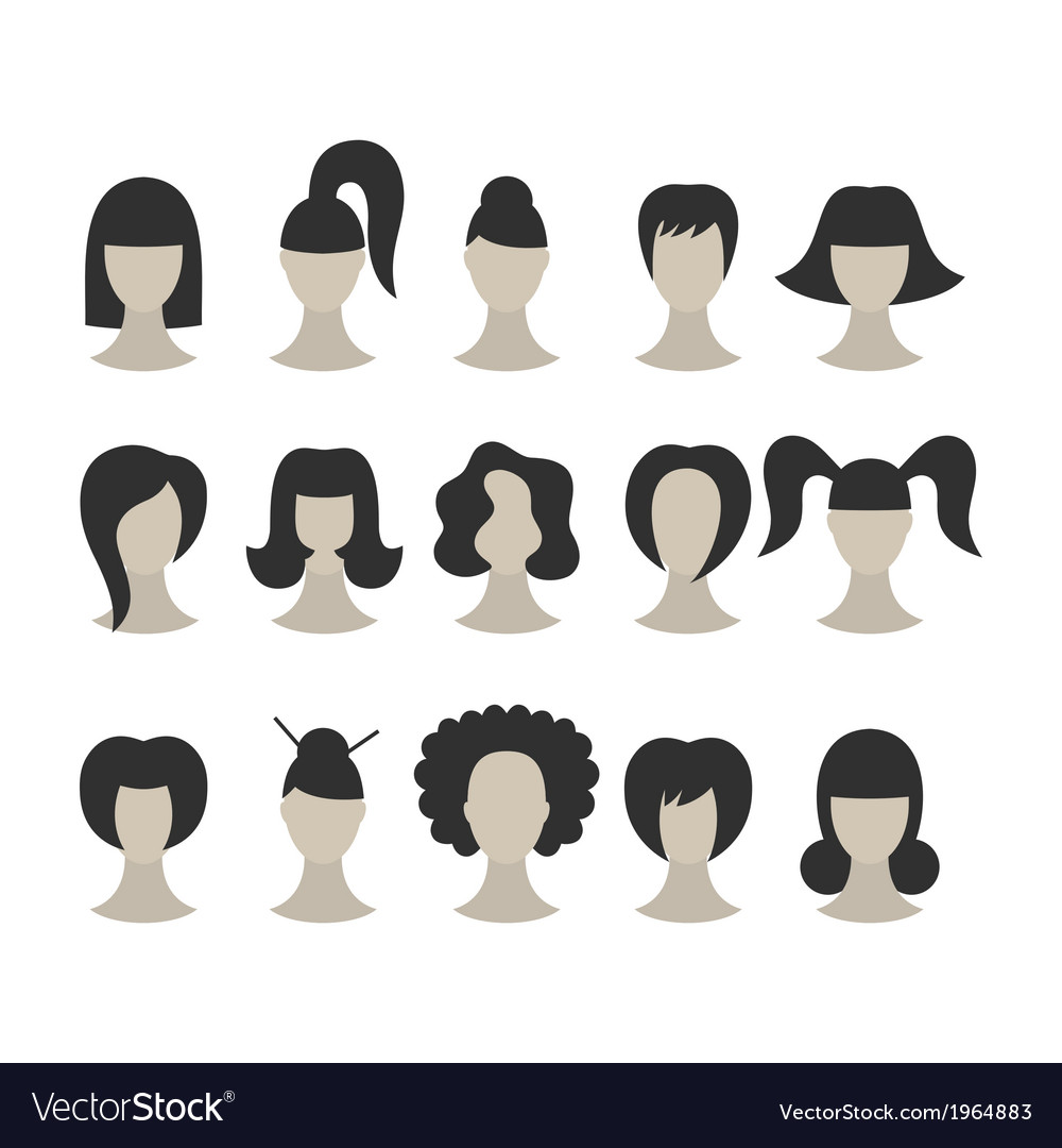 Set of black hairstyles for woman isolated on whit vector | Price: 1 Credit (USD $1)