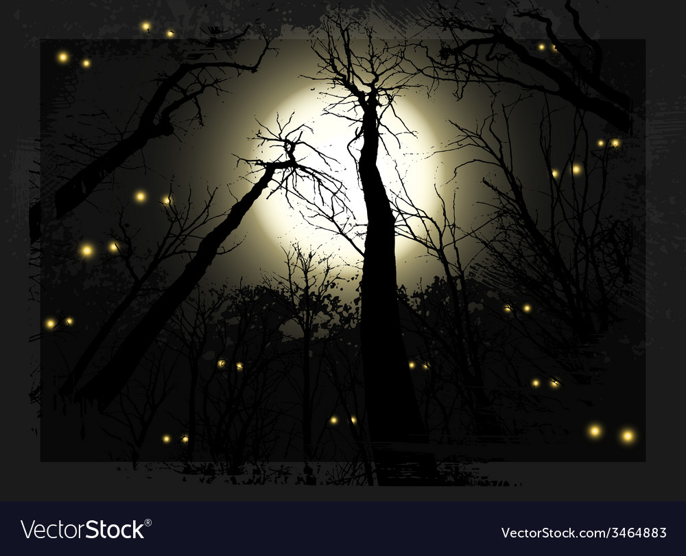 Spooky midnight grunge forest for halloween vector | Price: 1 Credit (USD $1)