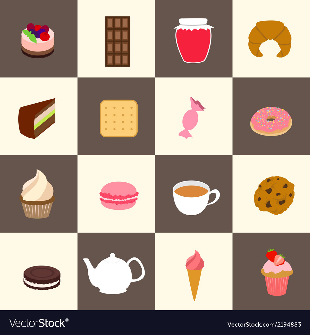 Sweets icons set vector | Price: 1 Credit (USD $1)