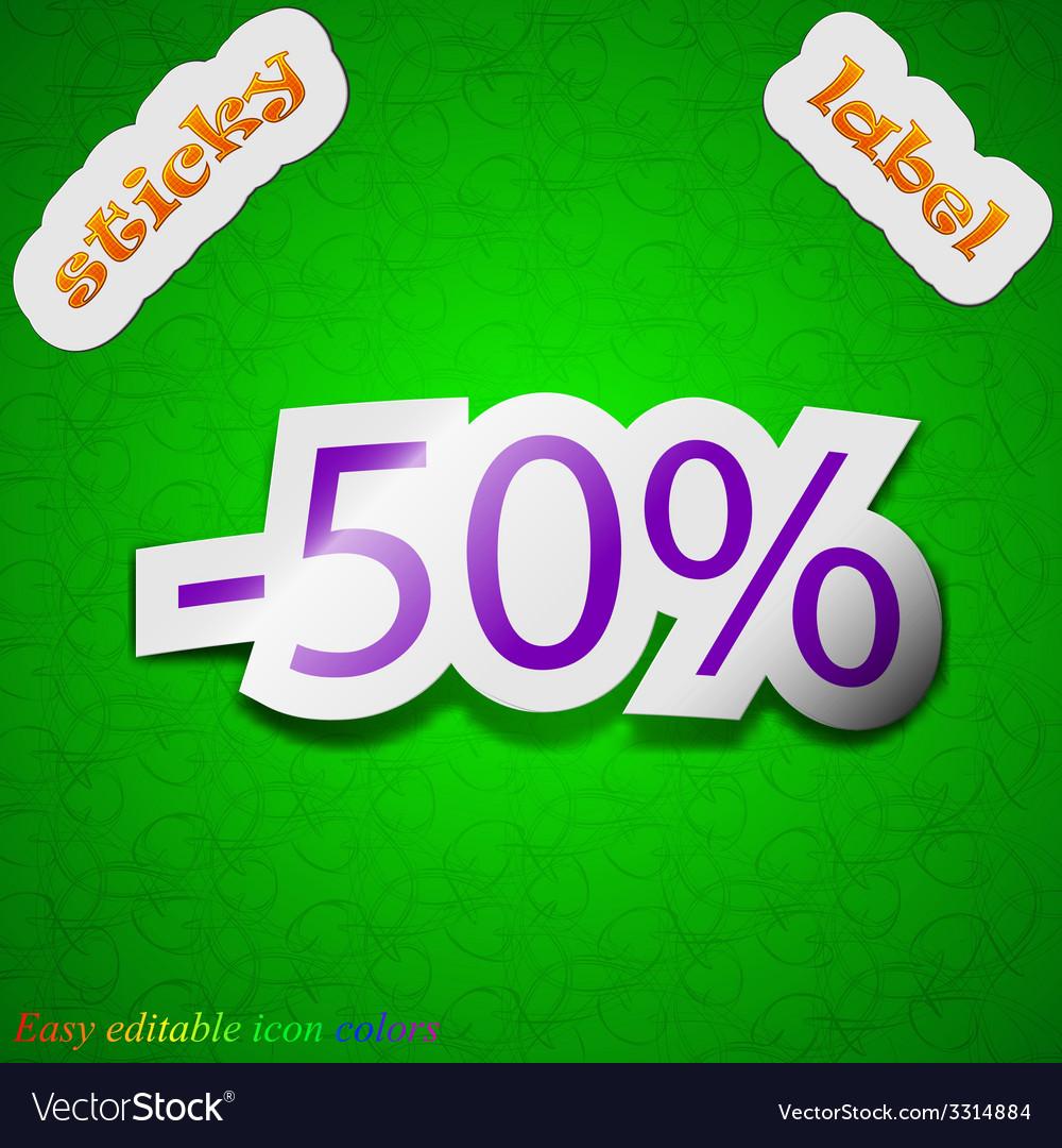 50 percent discount icon sign symbol chic colored vector | Price: 1 Credit (USD $1)