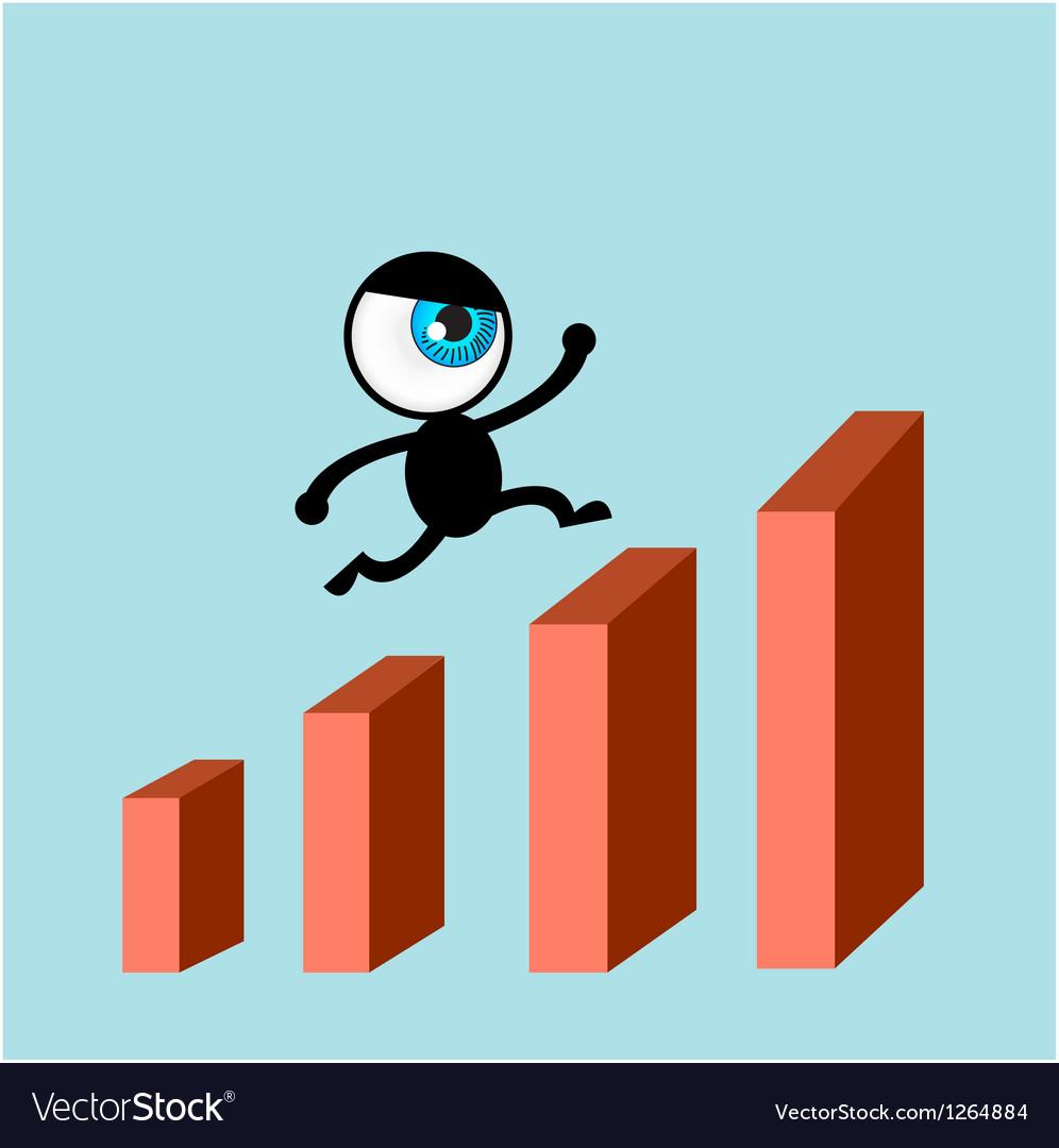 The blue eye run on bars graph vector | Price: 1 Credit (USD $1)