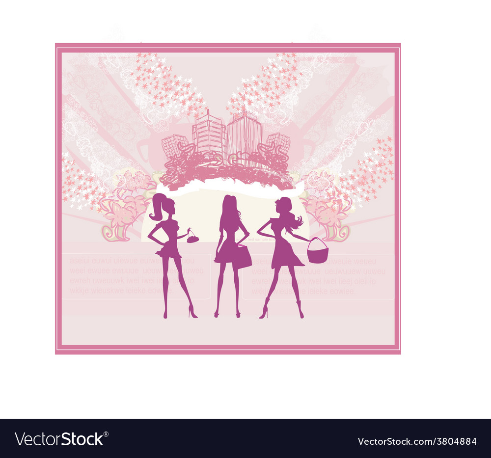 Fashion girls shopping background vector | Price: 1 Credit (USD $1)