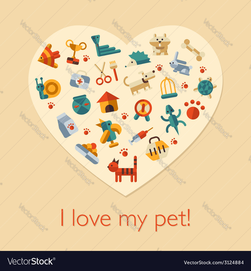 Flat design pets composition vector | Price: 1 Credit (USD $1)