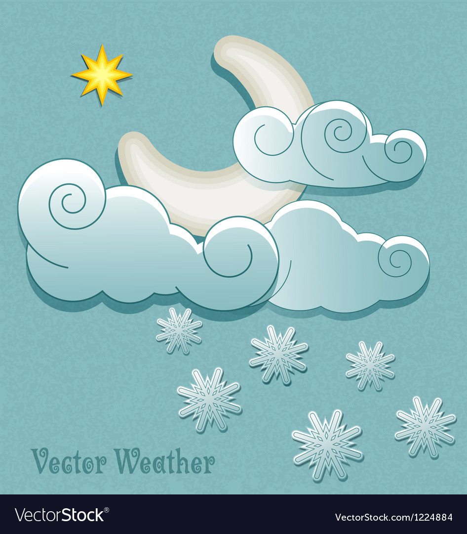 Moon in the clouds with stars and snowflakes vector | Price: 1 Credit (USD $1)