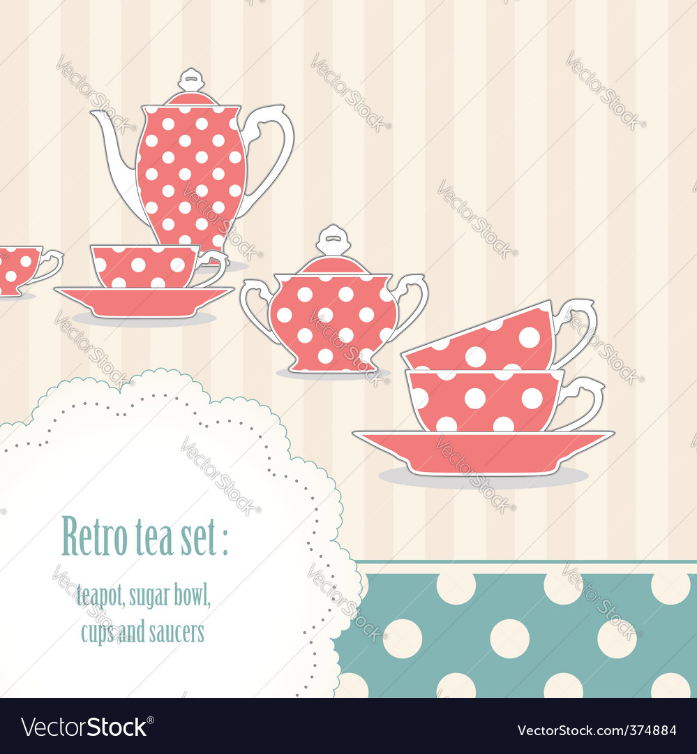 Polka dot tea set vector | Price: 1 Credit (USD $1)