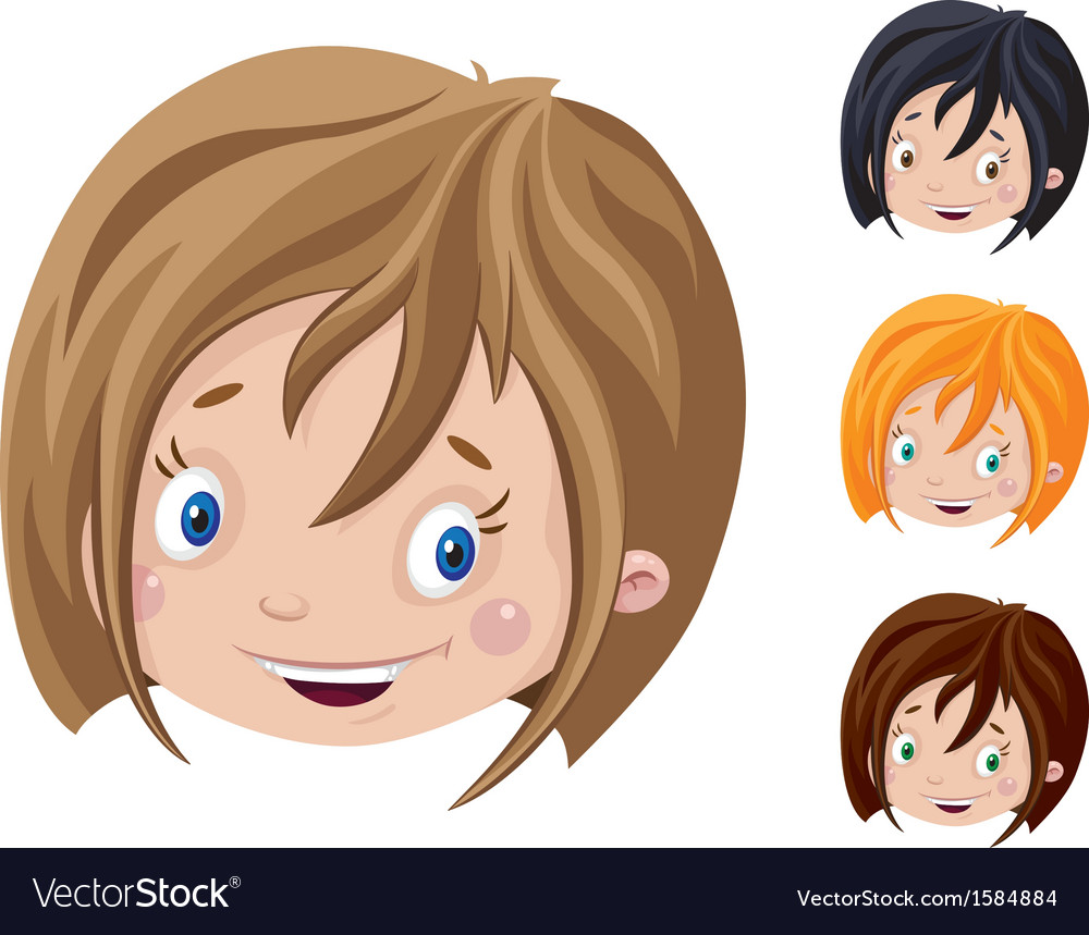 Smiling head of girl vector | Price: 1 Credit (USD $1)