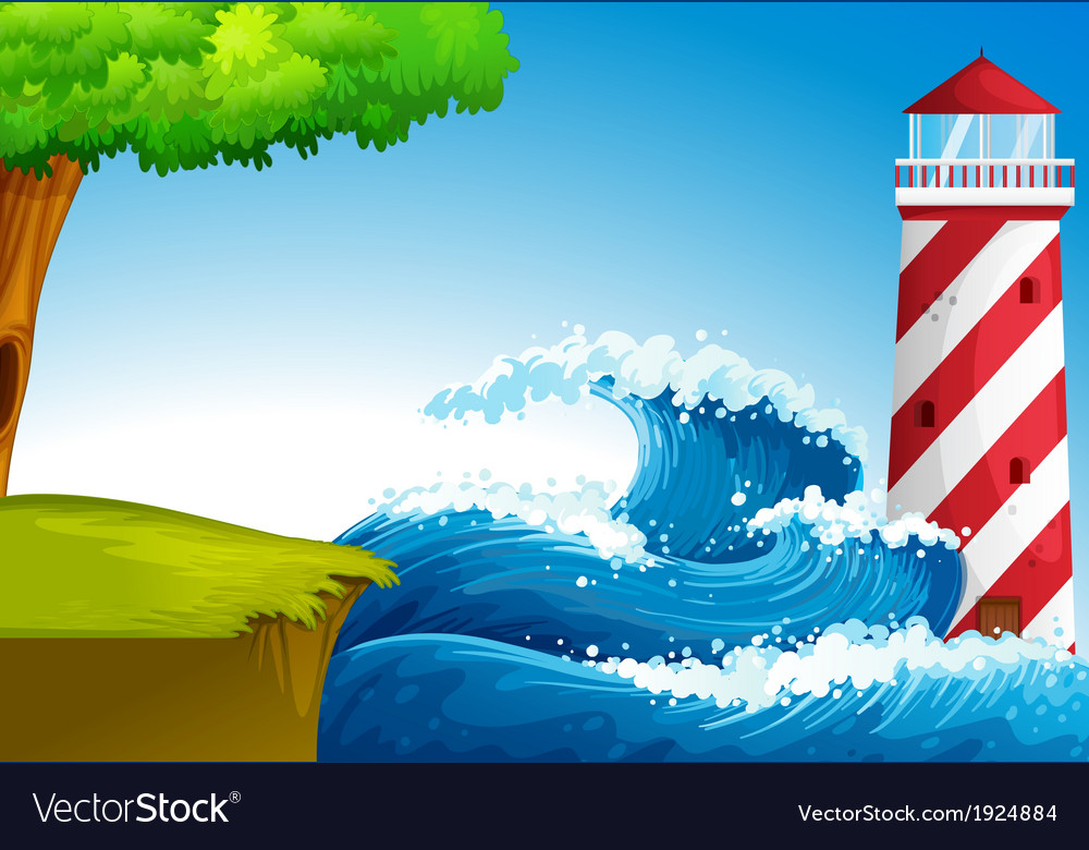 Strong waves near the lighthouse vector | Price: 3 Credit (USD $3)