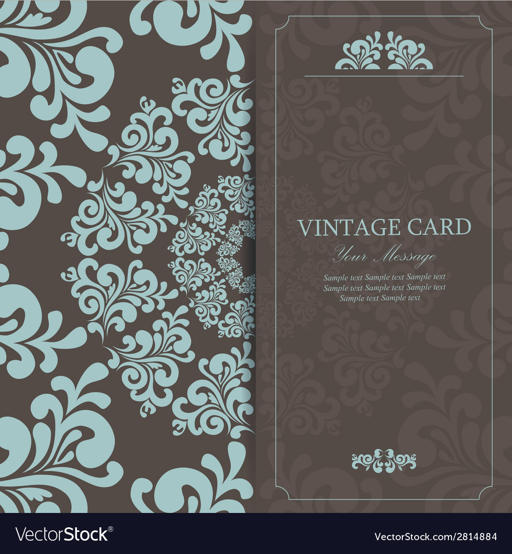 Vintage invitation card dark vector | Price: 1 Credit (USD $1)