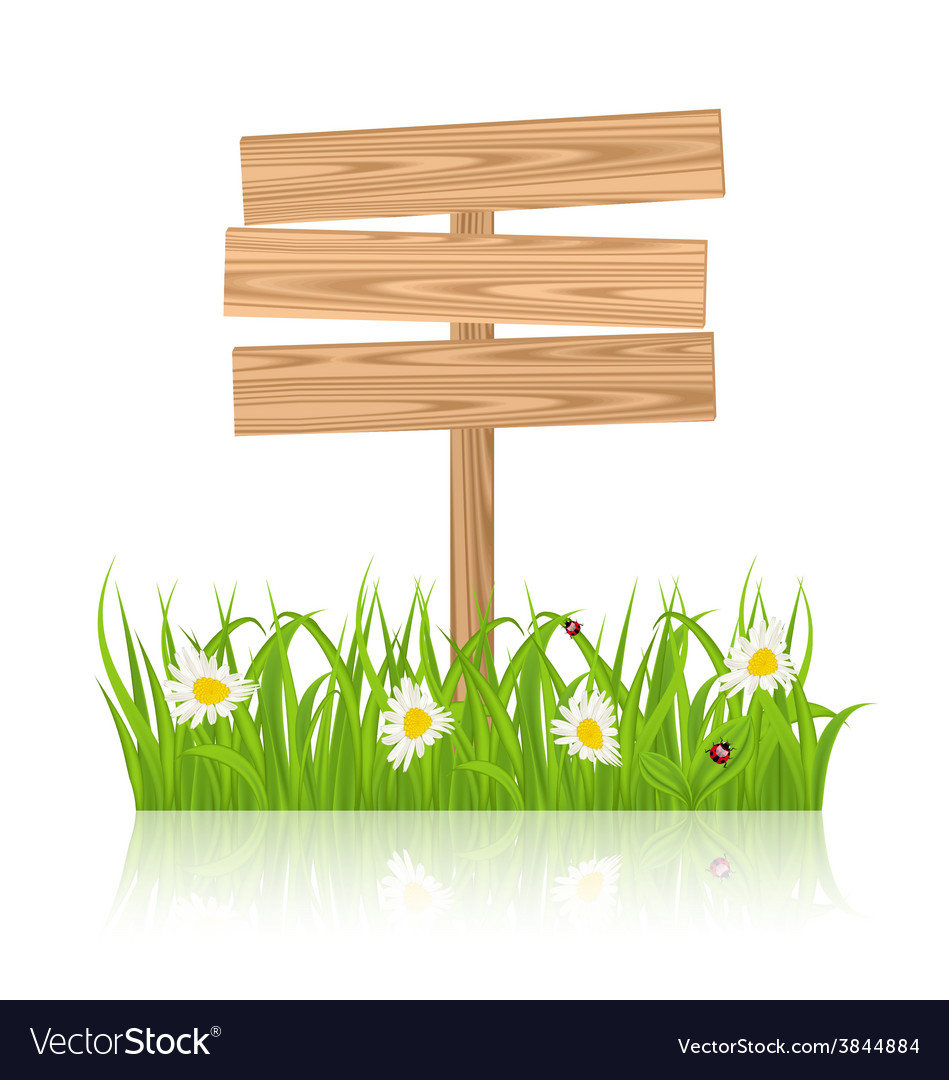 Wooden signboard for guidepost with field green vector | Price: 1 Credit (USD $1)