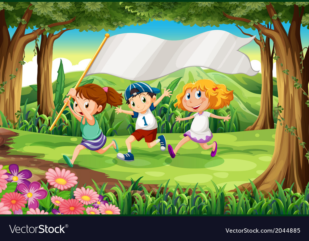 A jungle with three kids with an empty banner vector | Price: 3 Credit (USD $3)