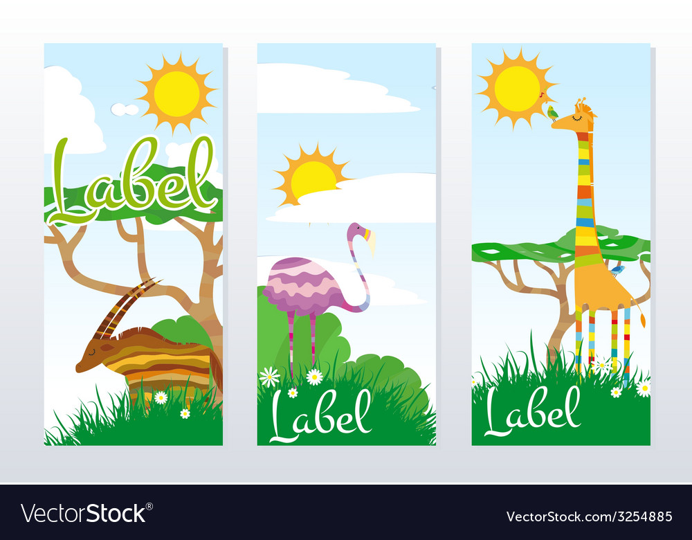African animals banners vector | Price: 1 Credit (USD $1)