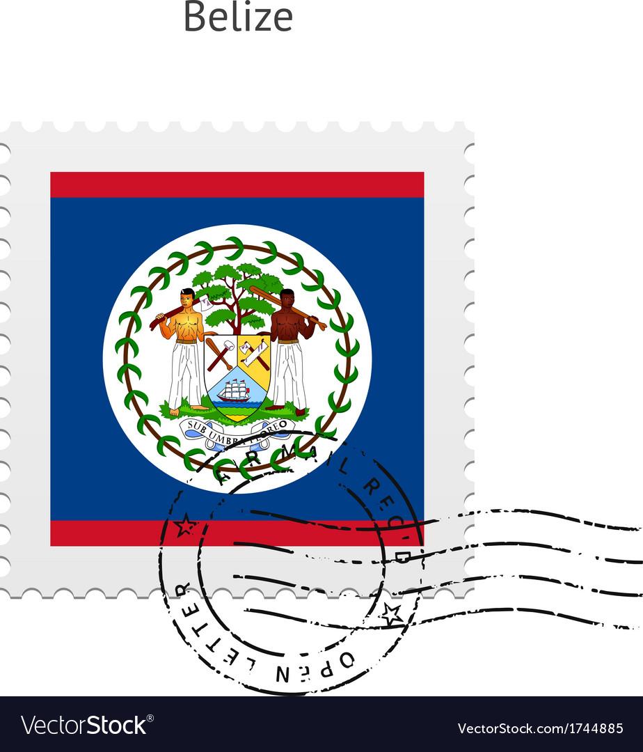 Belize flag postage stamp vector | Price: 1 Credit (USD $1)