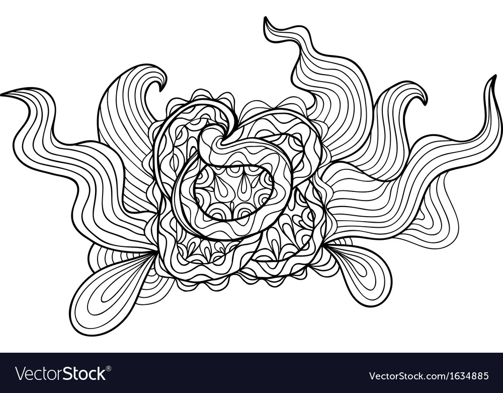 Black and white outline drawing floral doodle vector | Price: 1 Credit (USD $1)