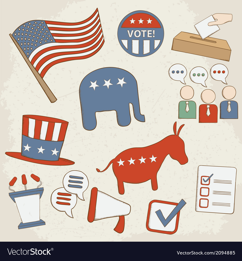 Election hand drawn icons vector | Price: 1 Credit (USD $1)