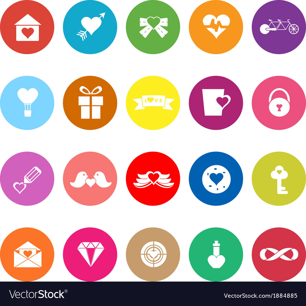 Love and heart flat icons on white background vector | Price: 1 Credit (USD $1)