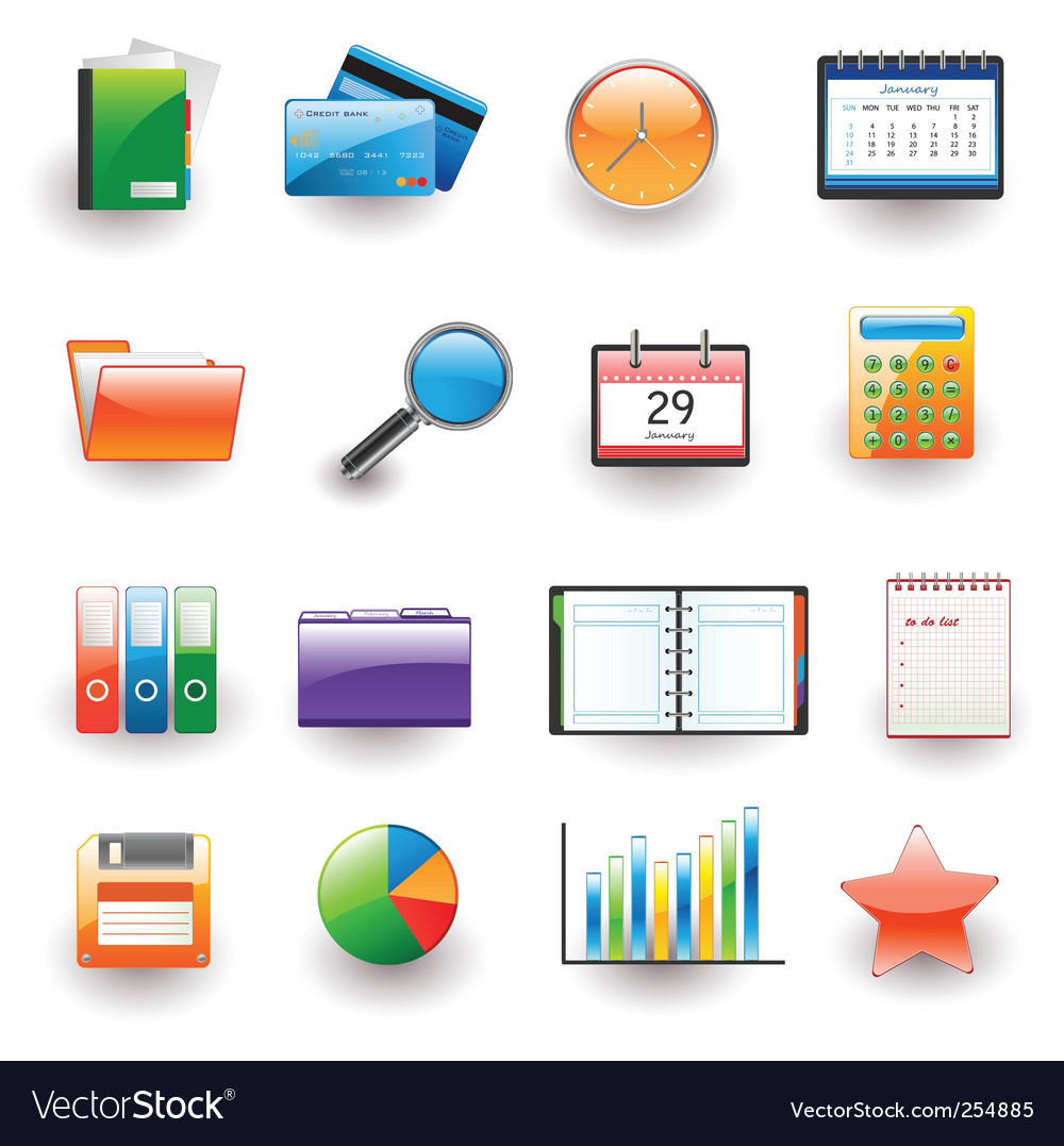 Office and business icons vector | Price: 3 Credit (USD $3)