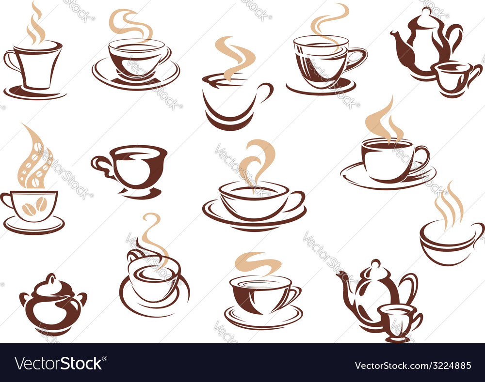 Set of doodle sketch coffee icons vector | Price: 1 Credit (USD $1)