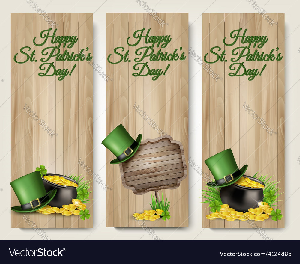 Three saint patricks day banners with lover leaves vector | Price: 3 Credit (USD $3)