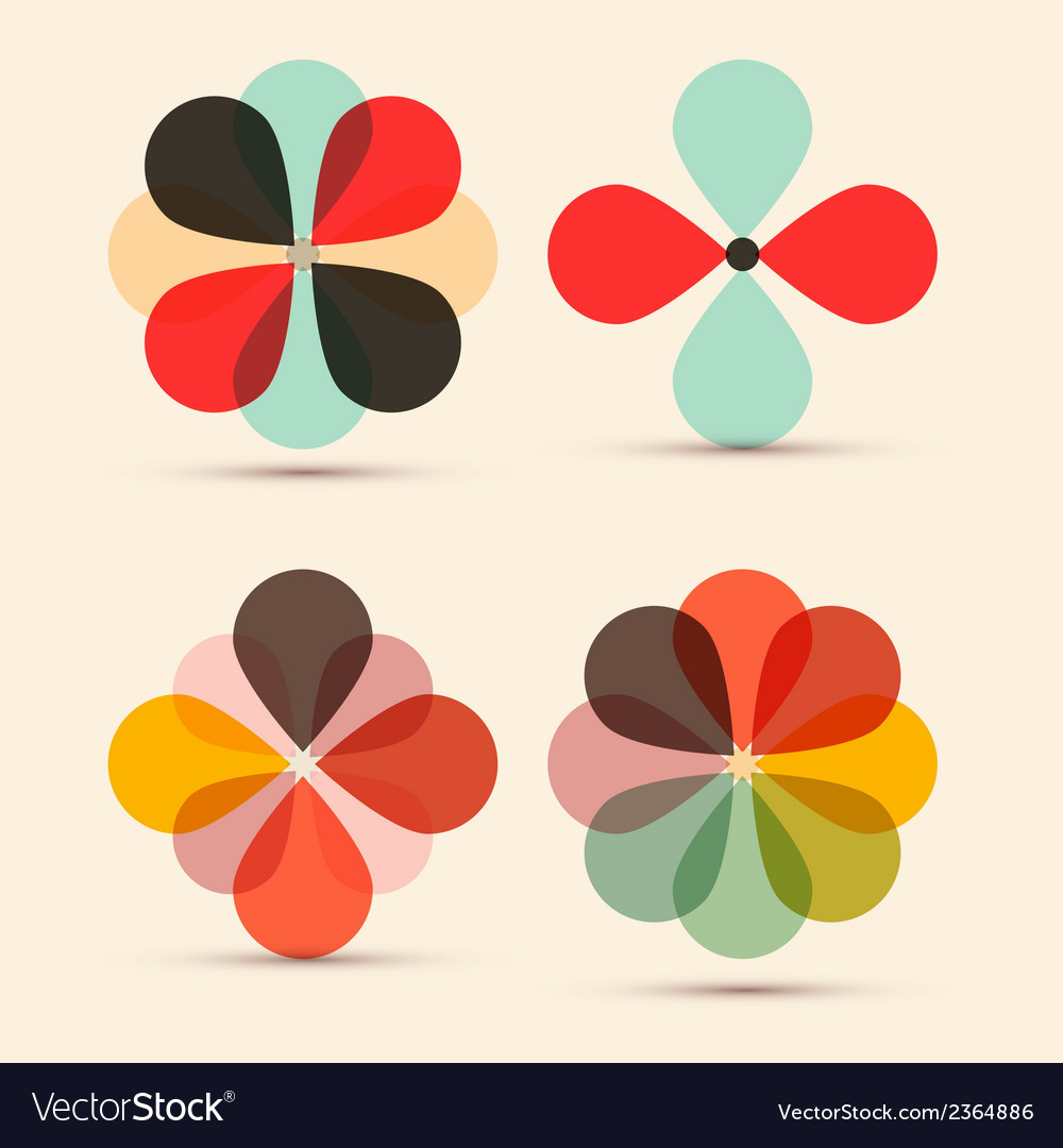 Abstract retro flowers set vector | Price: 1 Credit (USD $1)