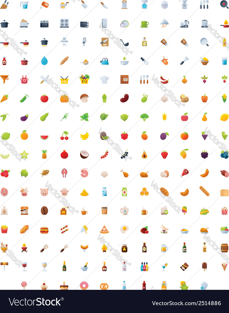 Big food drinks and cooking icon set vector   Price: 1 Credit (USD $1)